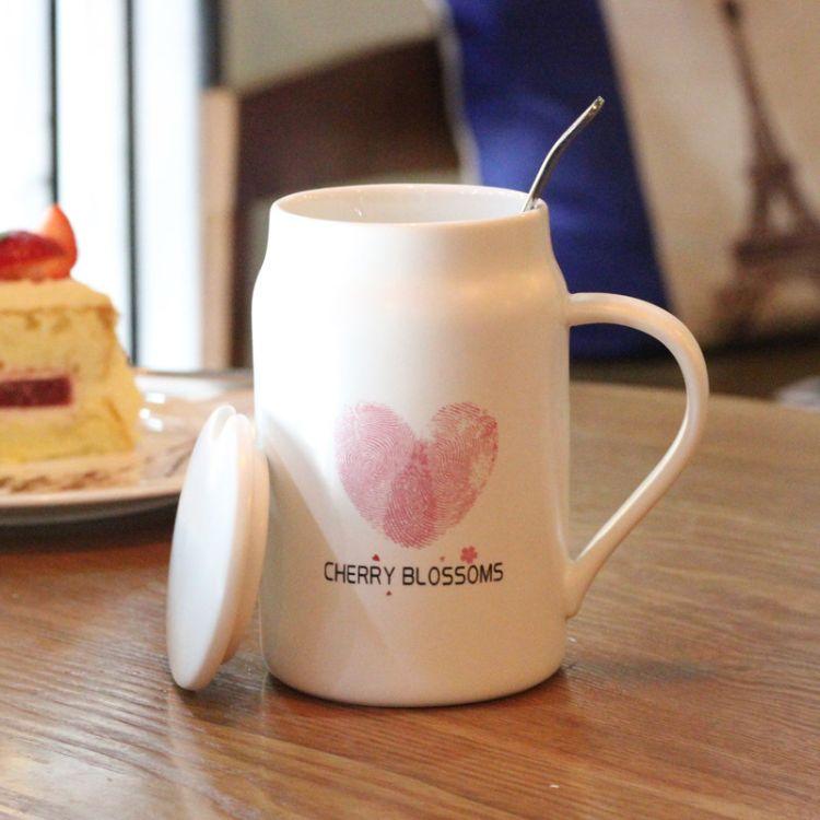 新品花之系列陶瓷杯 创意水杯广告定制logo马克杯 带盖带勺随手杯