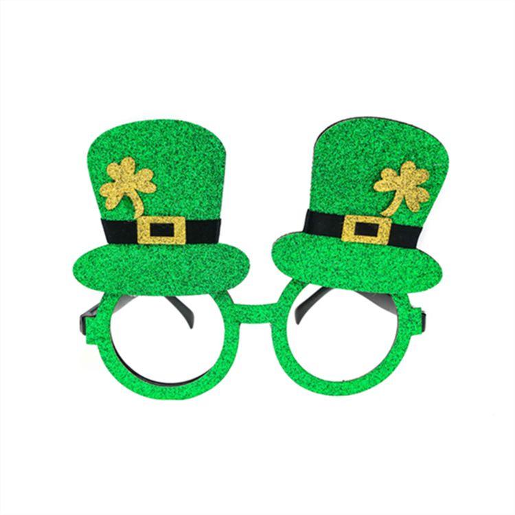 舞会派对魔术先生墨镜 圆框帽子三叶草个性万圣节装饰墨镜 外贸