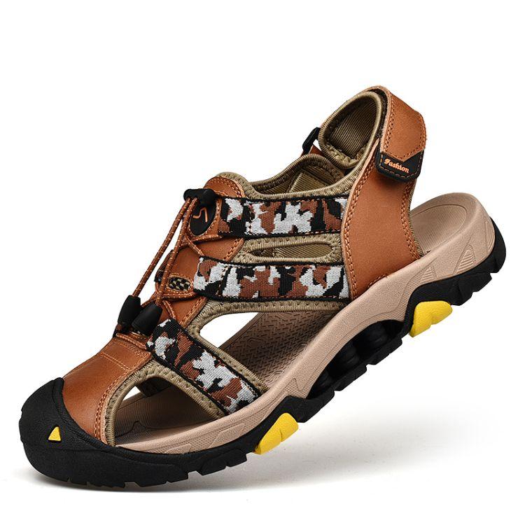 夏季2018新款男士透气凉鞋真皮户外登山旅游软底鞋防滑迷彩沙滩鞋