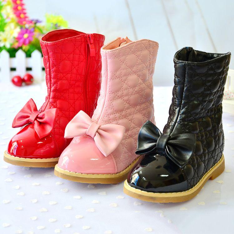 秋冬童鞋新款女童靴 韩版中筒皮女靴 加绒保暖蝴蝶结饰女童靴批发