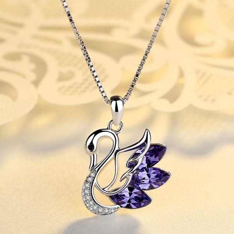新款s925纯银项链女小天鹅锁骨链奥地利水晶吊坠欧美时尚首饰批发