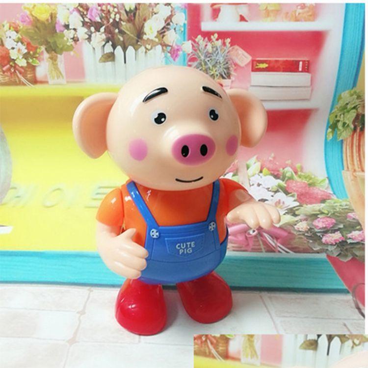抖音爆款玩具海草舞萌猪猪小屁卡通跳舞猪唱歌走路带灯光电动玩具