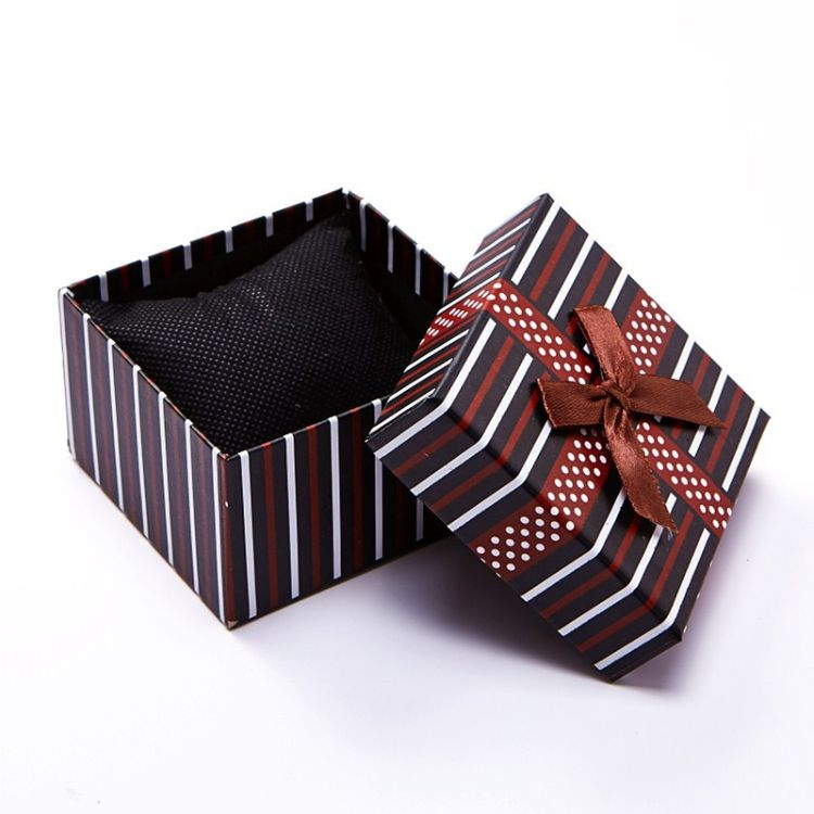 手表盒子 彩色条纹蝴蝶结饰品礼品包装盒 多色时尚外贸 厂家批发