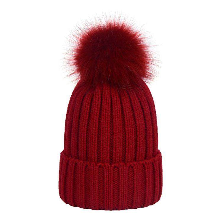 毛线帽针织帽毛球帽超大毛球仿毛球保暖加厚加绒