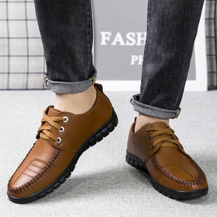 厂家现货供应加绒保暖人造革男鞋 系带男式商务棉鞋批发一件代发