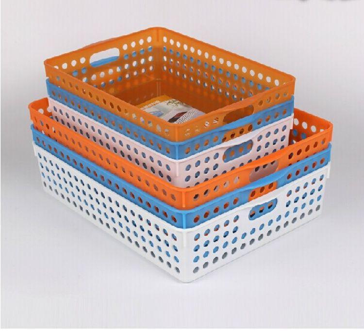 新款多用文件收纳筐A4 A5桌面收纳盒整理好帮手炫彩篮塑料