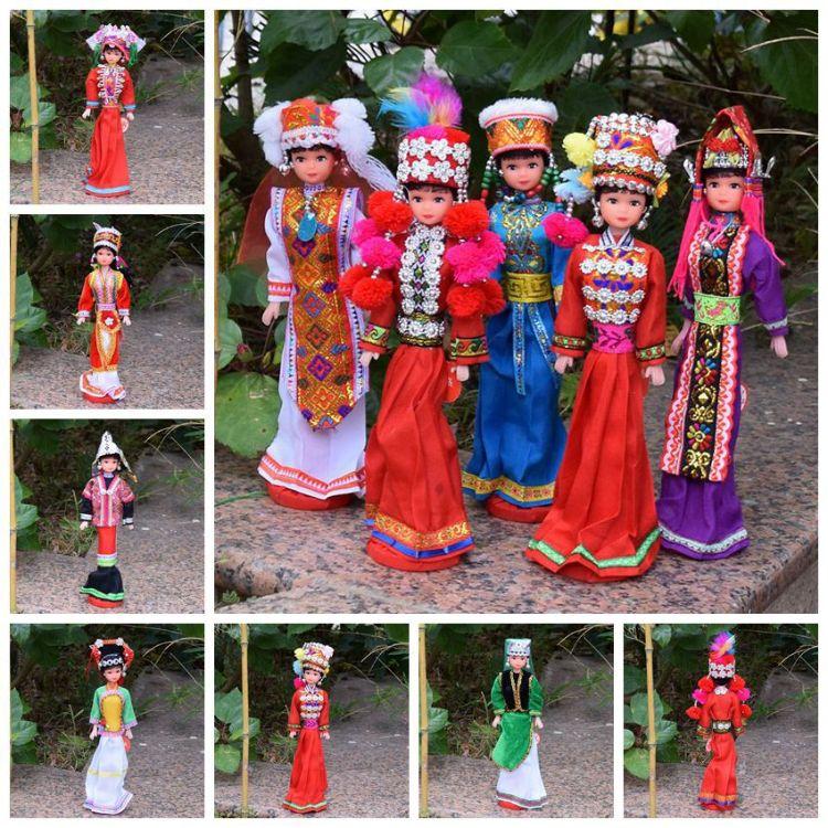 56个少数民族娃娃 布艺卡通仿真娃娃 纯手工娃娃   苗族民族娃娃