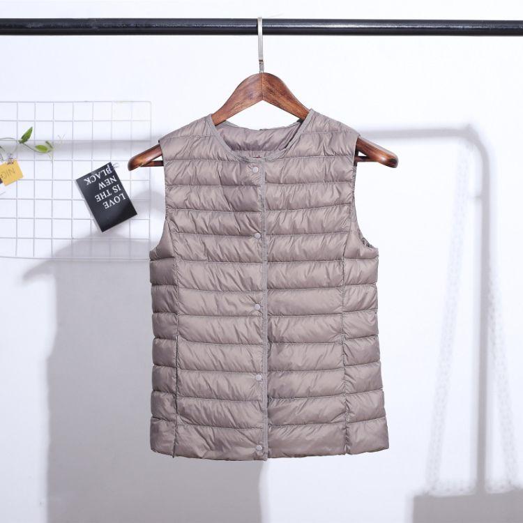 2018新款羽绒马甲短款修身时尚坎肩羽绒背心女士特价轻薄鸭绒马夹