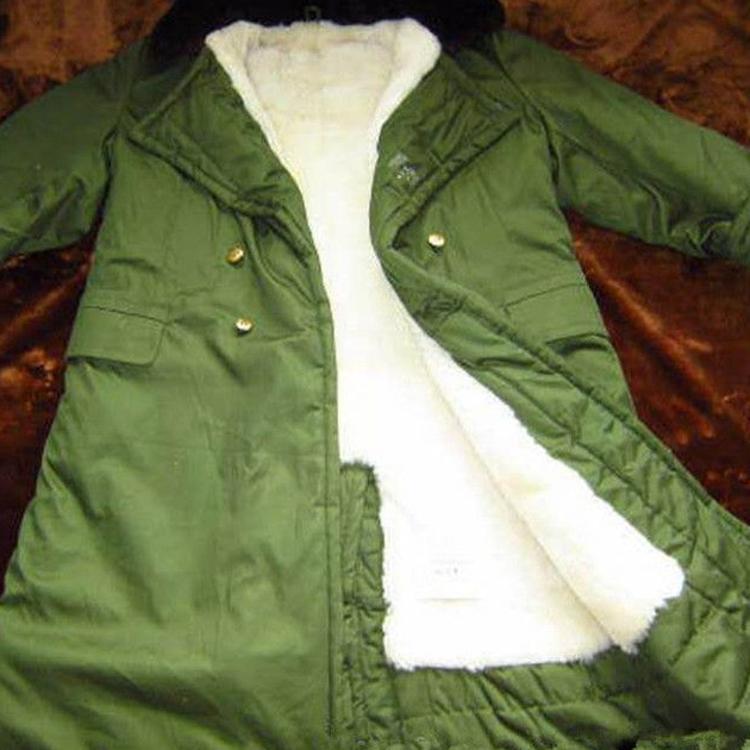 厂家直销羊剪绒皮毛一体军大衣劳保军工87式军绿大衣羊皮毛内胆