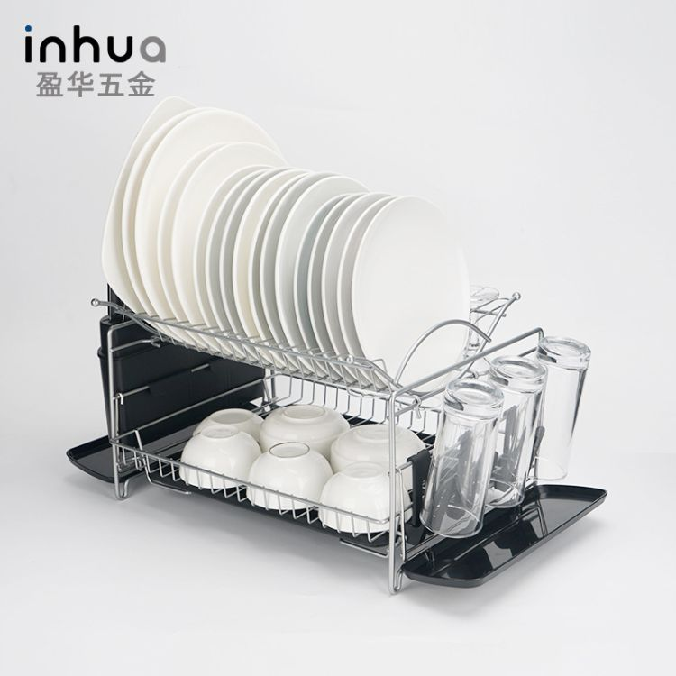 盈华五金 碗碟架 铁艺厨房碗碟沥水置物架收纳架 双层多功能餐具置物架厂家
