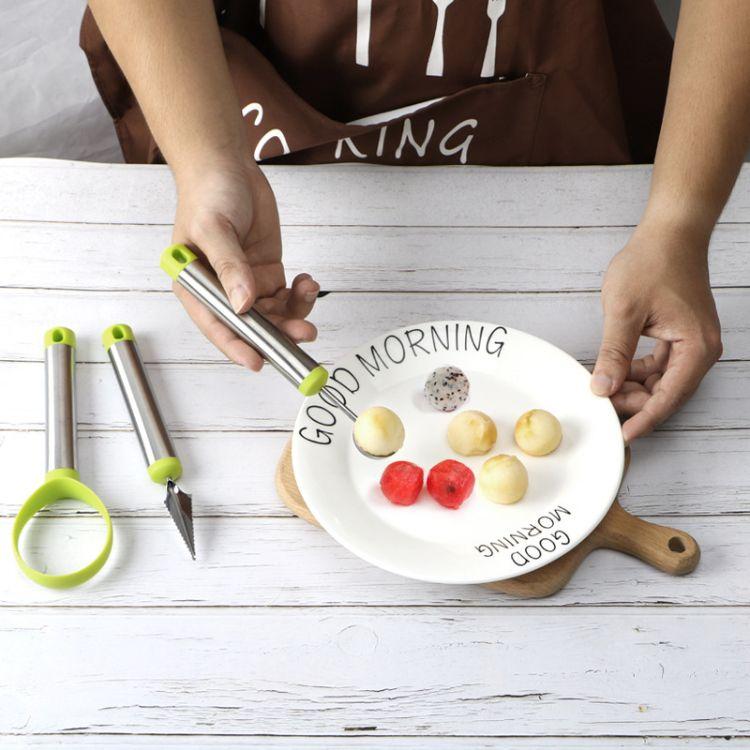 优质DIY不锈钢304水果拼盘套装创意雕花刀西瓜挖球器 工厂直销
