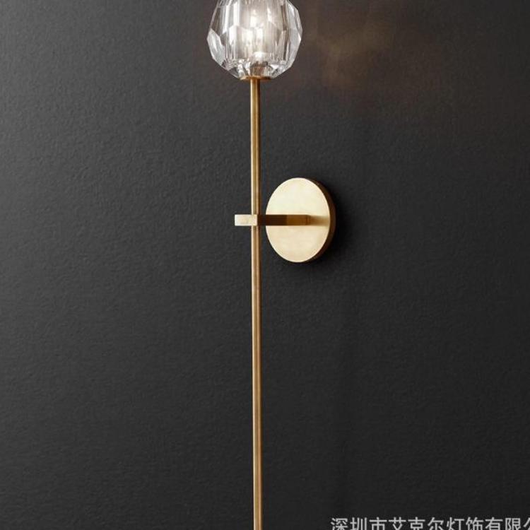 美式水晶壁灯镜前灯 led走廊过道灯样板房灯 后现代水晶壁灯