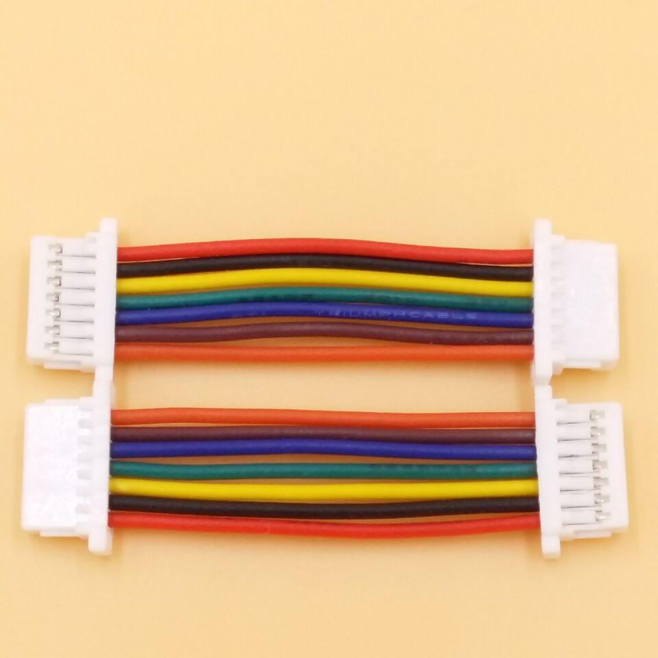 广东线束工厂加工JST1.0-7PIN 双头正反向线长25MM超短端子连接线