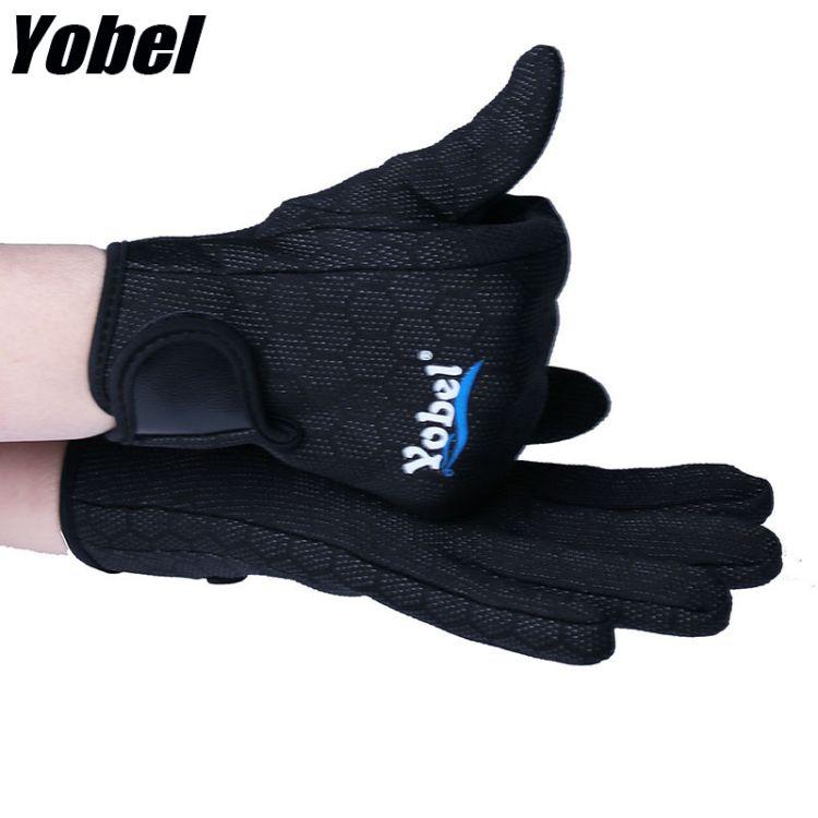 yobel 新款男女游泳潜水手套滴胶防刮保暖加厚浮潜手套