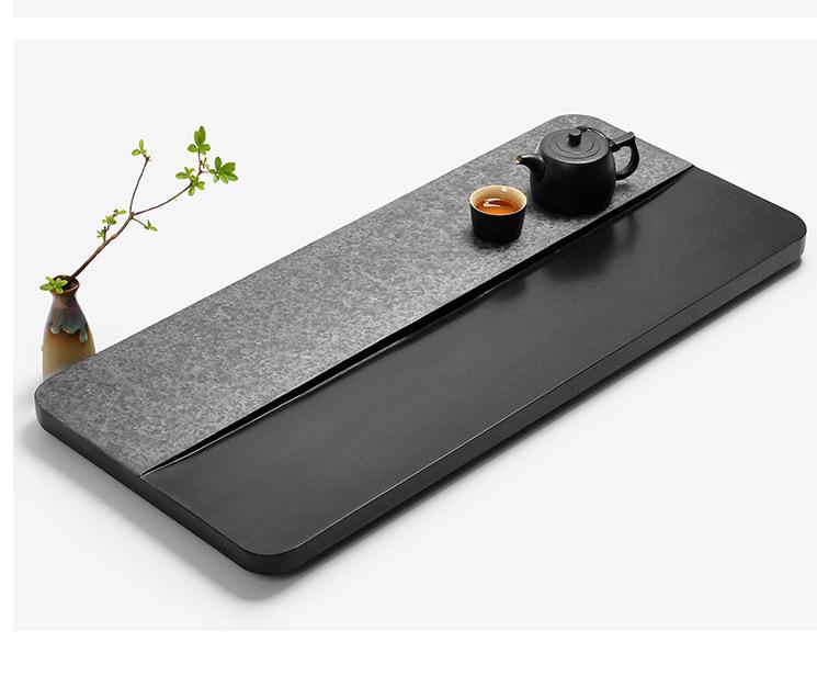 烏金石茶盤天然整塊大號石頭茶海石材小茶臺家用簡約茶具套裝托盤