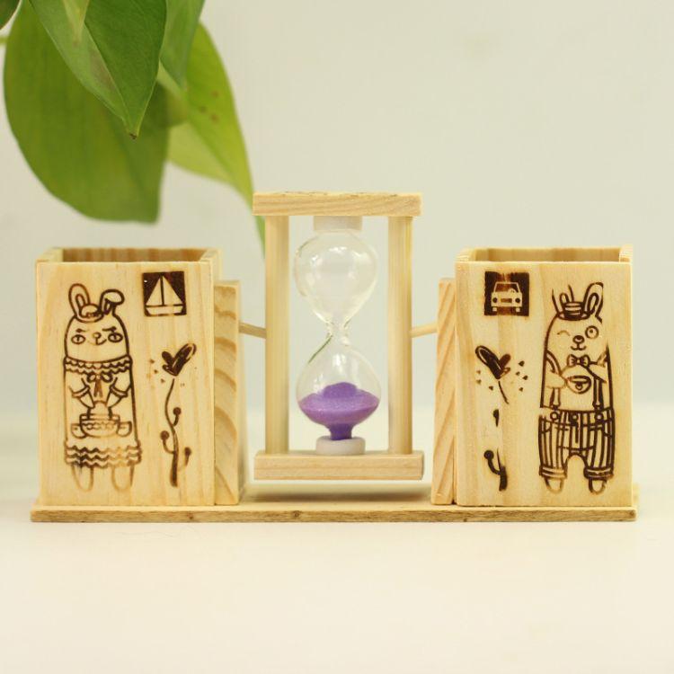 厂家直销计时沙漏双笔筒生日礼物10元店创意卡通木制工艺品摆件