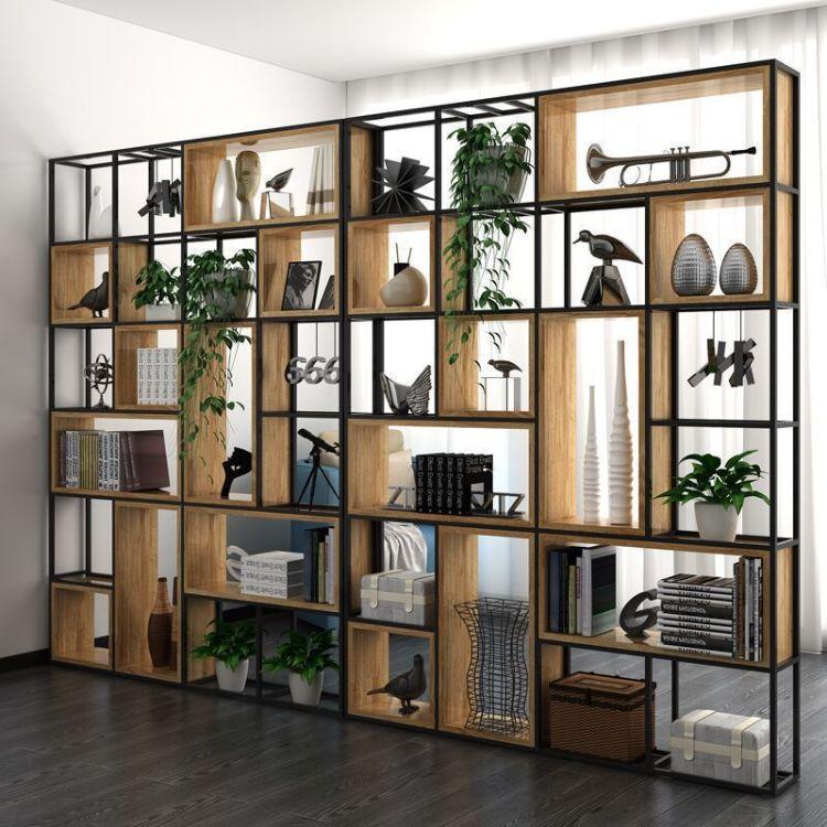办公室工业铁艺隔断屏风客厅定制装饰落地式多功能收纳置物架书架