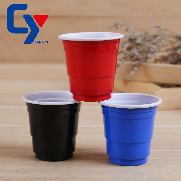 一次性杯子厂家定做注塑杯 彩色创意SOLO杯 带LOGO红白双色水杯