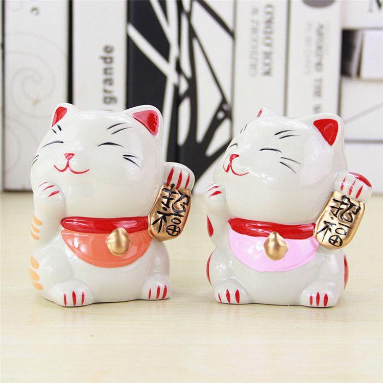 日式陶瓷招财猫小号情侣存钱罐 招福婚庆喜糖盒创意礼品隔板摆件