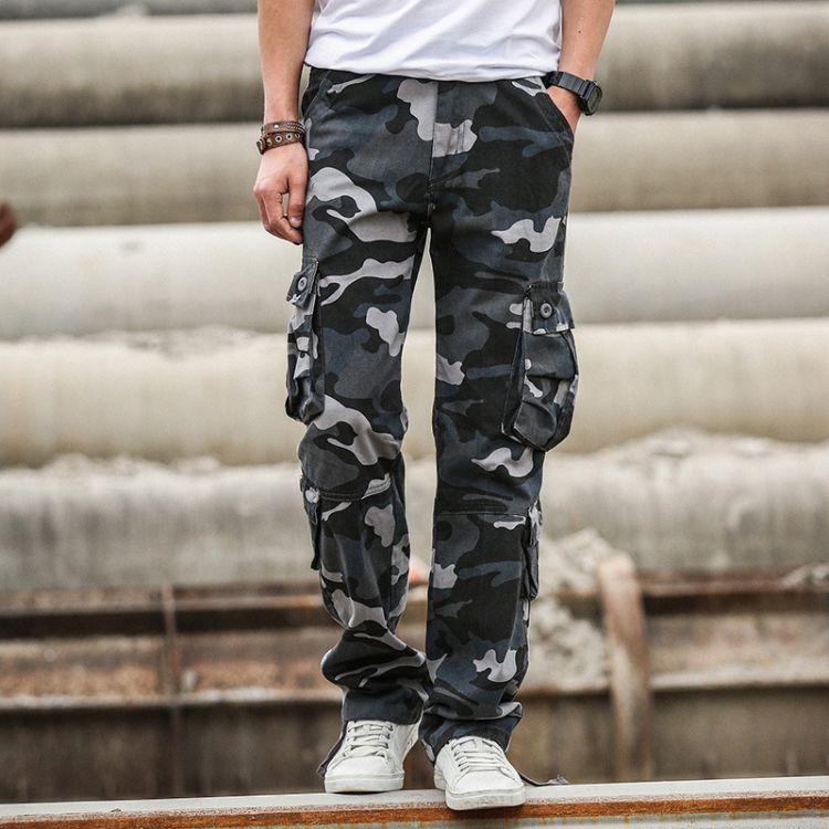 外贸原单多口袋男式休闲裤青年户外休闲迷彩直筒裤男一件代发