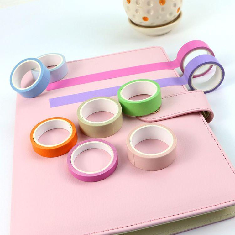 新款日本手帐本和纸胶带 7mm/15mm彩色手账和纸胶带可撕贴纸批发