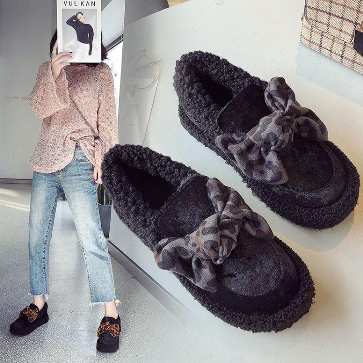 厚底毛毛鞋女冬季2018新款平底外穿加绒保暖棉鞋蝴蝶结学生豆豆鞋