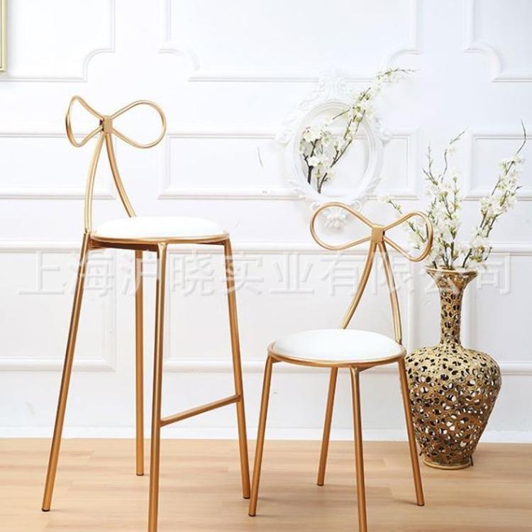 美式做旧吧台椅蝴蝶椅 酒吧咖啡厅餐厅靠背椅高脚吧凳子铁制吧椅