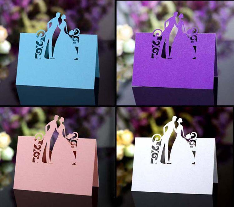 结婚新郎新娘款席位卡 激光镂空姓名桌卡 定制兰色姓名签到台