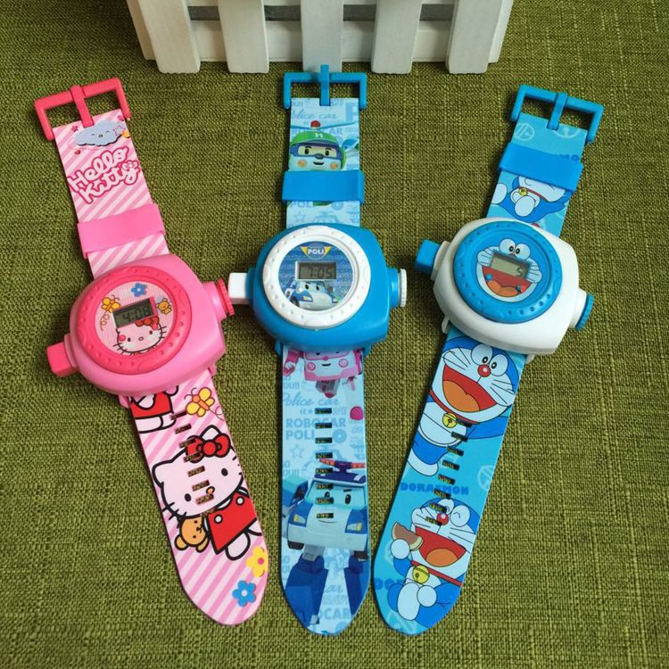 批发儿童卡通3D投影手表叮当KT 粉红猪米奇24图男女孩投影手表