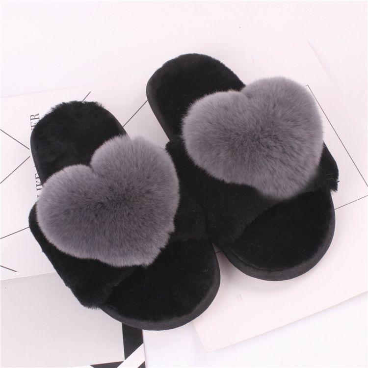 羊毛 皮毛一体女皮草獭兔毛桃心 熊猫 笑脸一字拖鞋秋冬羊毛一体