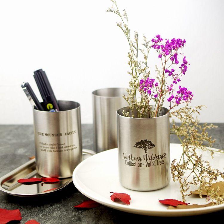 外贸ins北欧金属简约304不锈钢花瓶笔筒收纳摆件插花瓶logo