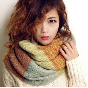 热卖韩版撞色毛线套头双色围脖女士冬天韩版加厚保暖脖套批发