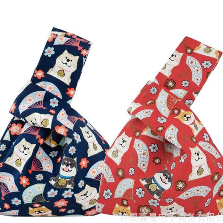 媛艺文艺日式和风手袋套结手腕袋手机钥匙零钱包手提女包袋遛弯包