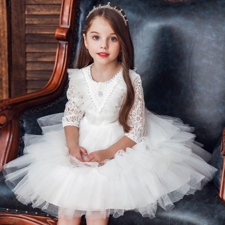 韩版儿童礼服厂家广州彩乐妮货源公主连衣裙周岁宝宝生日长袖蕾丝蛋糕蓬蓬礼服裙女童baby dress