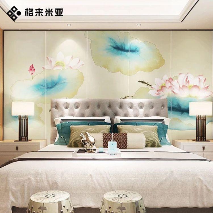 新中式电视背景墙画无缝3D立体竹木纤维集成装饰墙板5D背景墙定制 墙板打印画