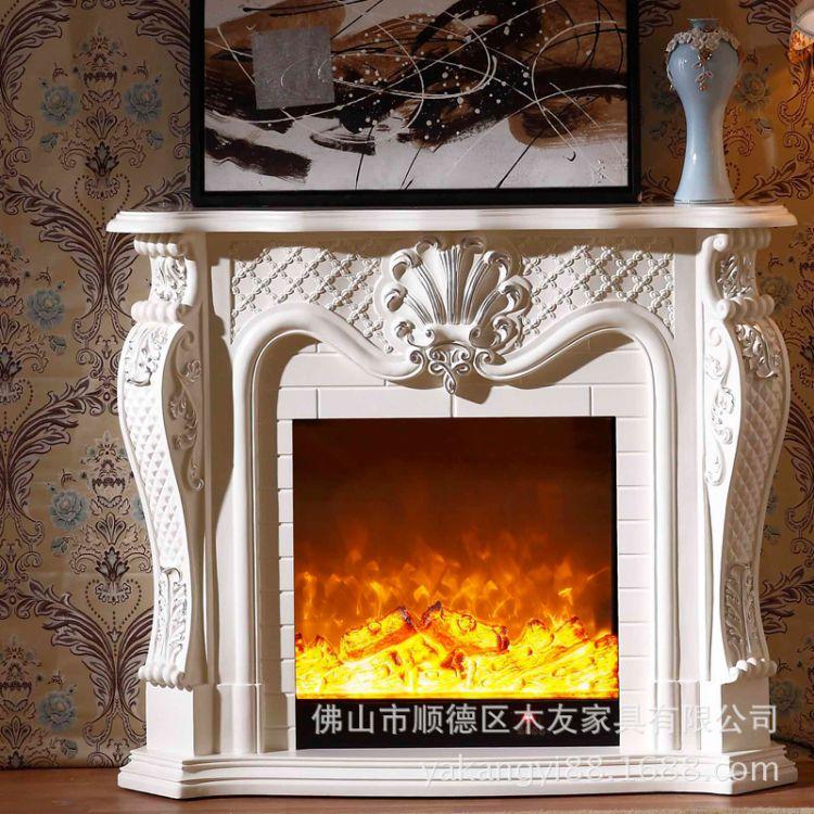 1.2米1.5米欧式简约壁炉实木壁炉架装饰柜仿真火取暖LED炉芯319