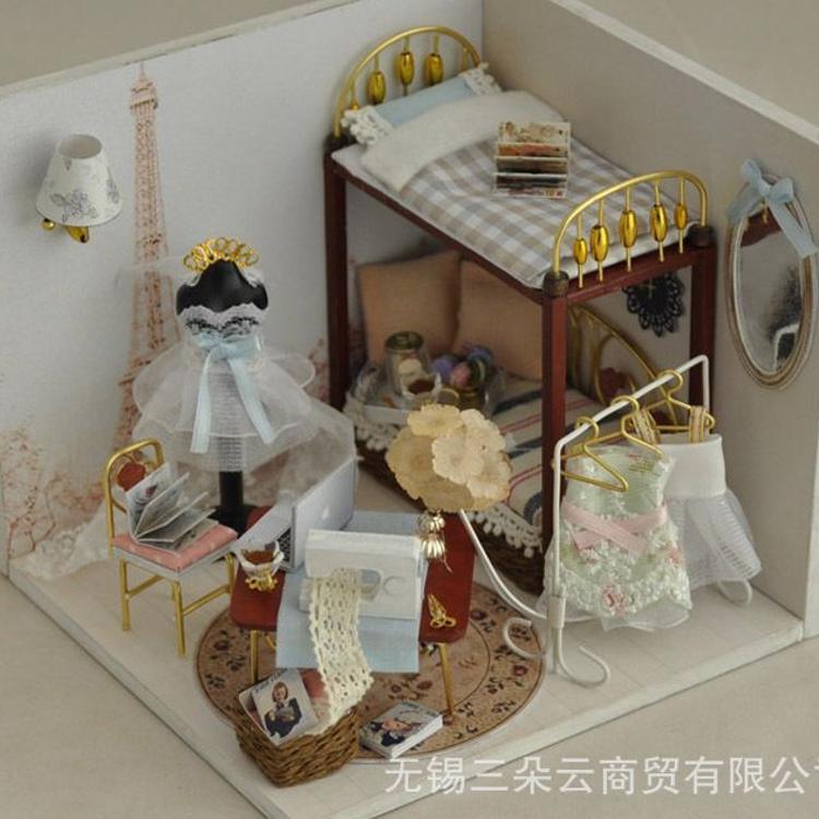 diy小屋批发甜梦巴黎手工拼装模型房子建筑玩具创意生日礼物厂家