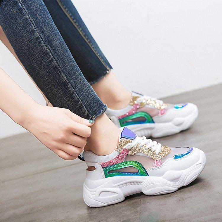 新款运动鞋女松糕底亮片网布老爹鞋女批发透气系带学生运动单鞋女