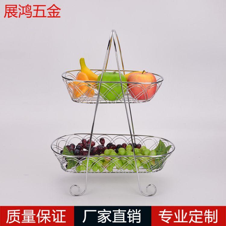 厂家热销双层水果篮欧式铁艺礼品果篮家居客厅摆件创意水果盘