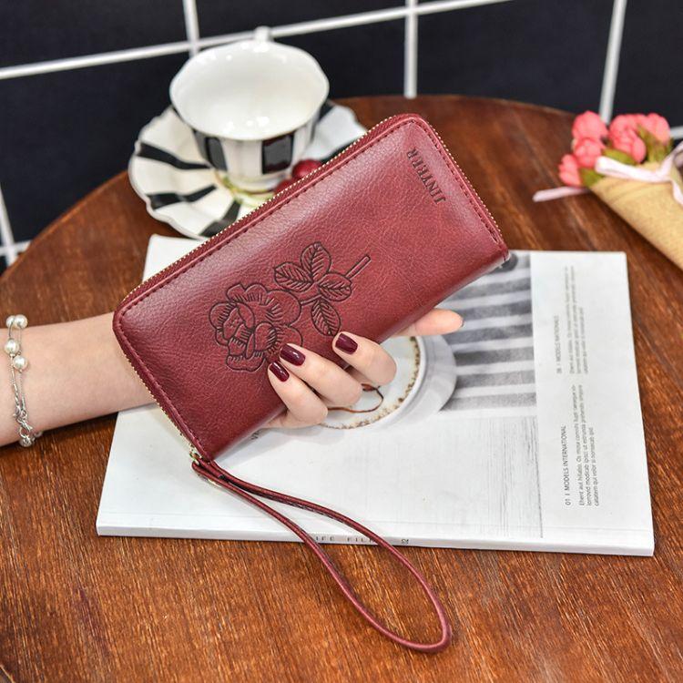时尚欧美百搭PU皮女士钱包长款拉链复古女士钱夹多功能手挽手拿包
