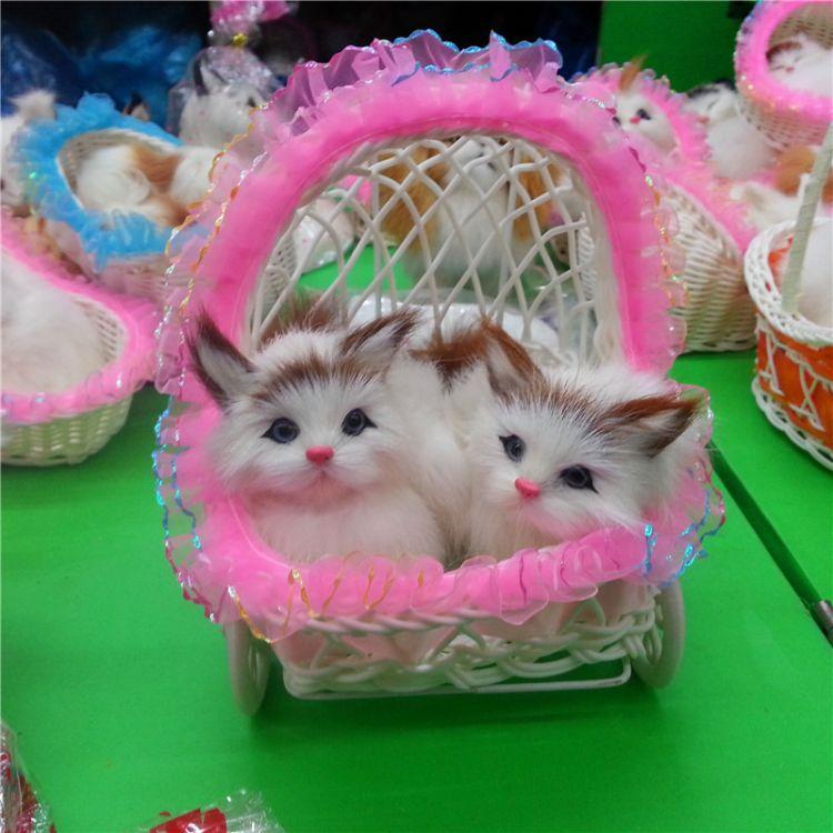 毛仿真动物对猫会叫蕾丝花边老婆礼品猫咪可爱猫咪猫工艺品