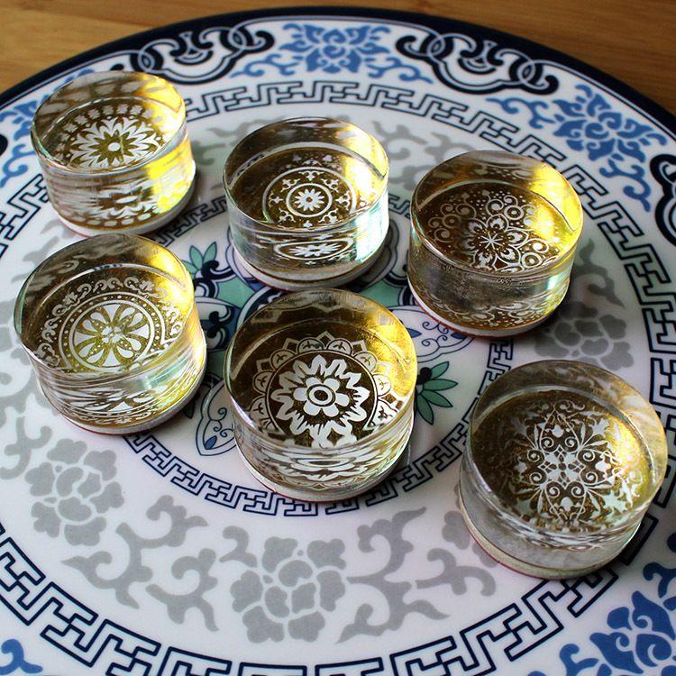 韩国可爱 DIY印章 日记 复古花纹系列 水晶圆形印章