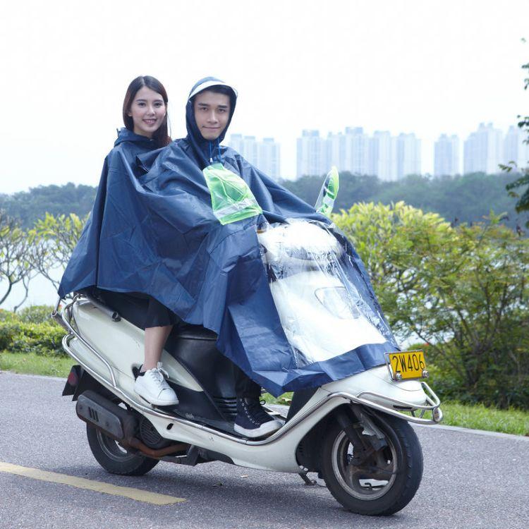 新款防水PVC牛津布骑行电瓶车雨披加大帽檐摩托车连体雨衣雨披批发