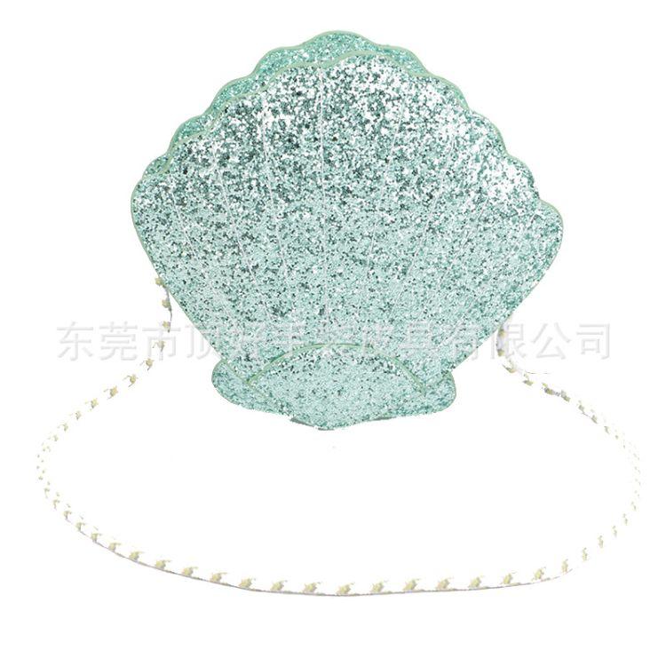 东莞厂家定制时尚格力特女包 多功能儿童斜挎包亮片人鱼贝壳包