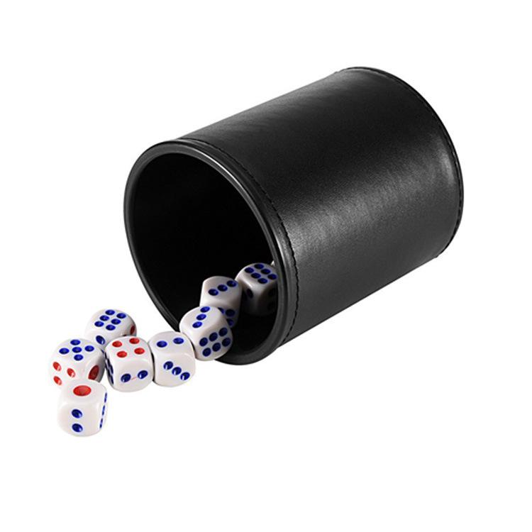 厂家定制直筒皮革筛盅 酒吧游戏娱乐pu骰盅 骰子游戏杯可定制LOGO