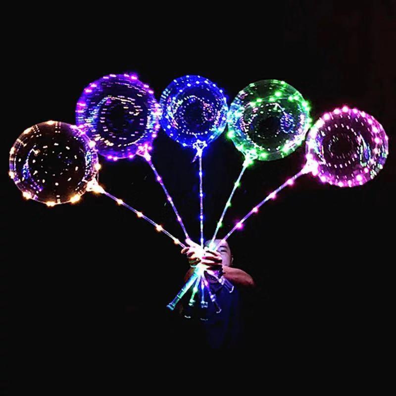 爆款网红情人节告白气球 18寸发光透明波波球 带灯 led灯串气球