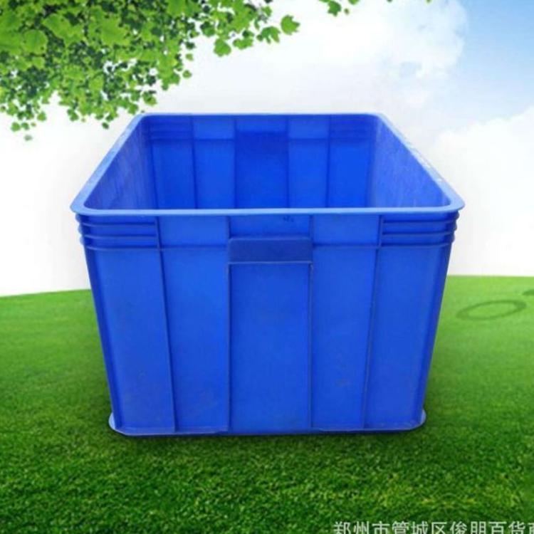 厂家直销 蓝色塑胶 周转箱 加厚10号塑料箱 特大号物流箱可堆叠