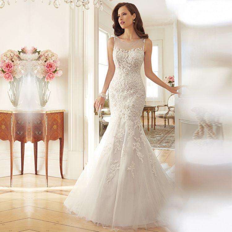 韩欧式婚纱网纱拖尾款婚纱露背修身显瘦款法式典雅礼服