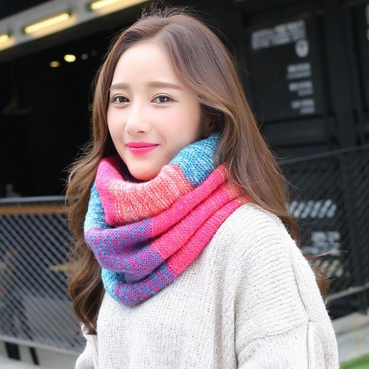 2018秋冬季围巾潮学生女士彩虹毛线围脖套头厚保暖围巾批发