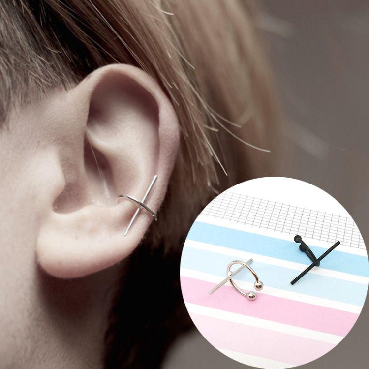 时尚简约气质男女同款耳骨夹无耳洞假耳钉百搭十字架耳夹